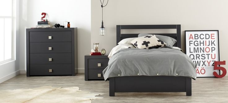 Aries Contemporary Charcoal Kids Bedroom Furniture Suite With Grey Black And White Linen And
