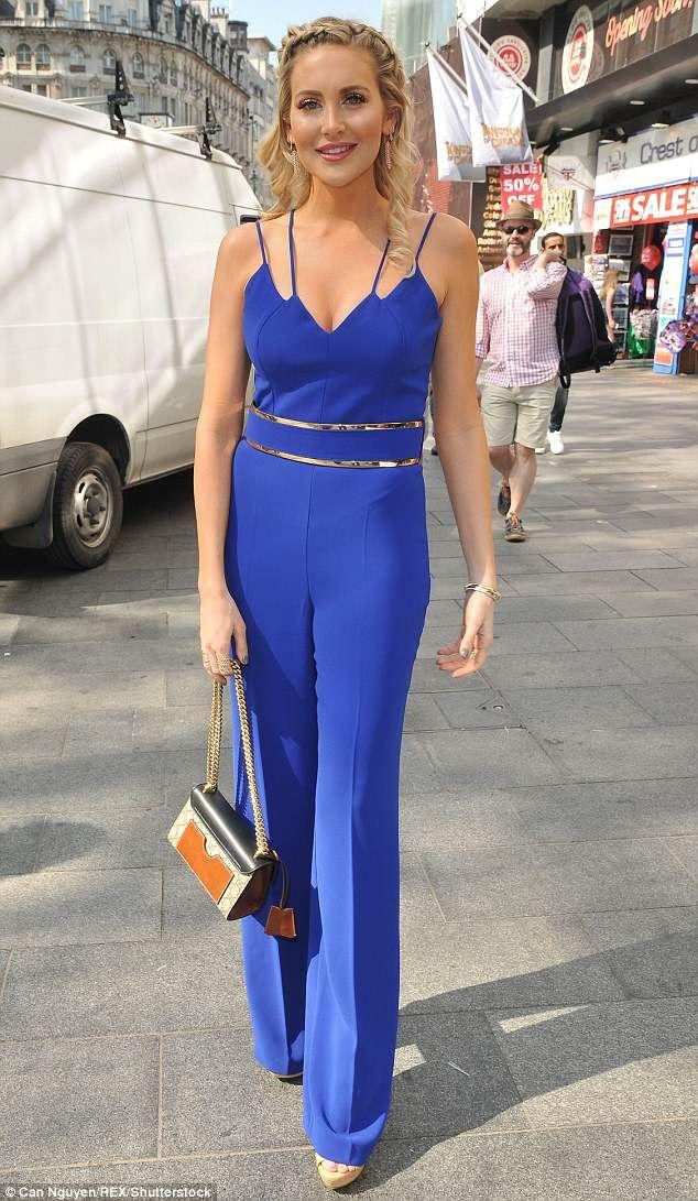 d5467d582d2 Stephanie Pratt shows off her figure in blue jumpsuit in London ...