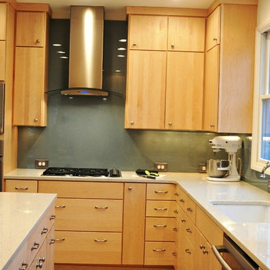 Blonde Cabinets With White Quartz Counter Tops House