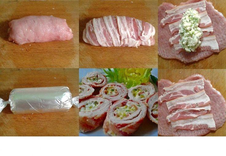 Duplán baconös karajszeletek zöld fűszeres mackósajttal töltve