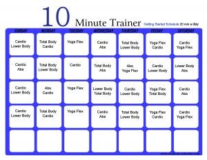 10 Minute Trainer (when you have 20 Mins) Calendar