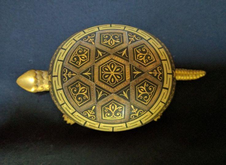 Vintage BOJ EIBAR Brass Wind Up Turtle Damascene Hotel Desk Bell Toledo, Spain