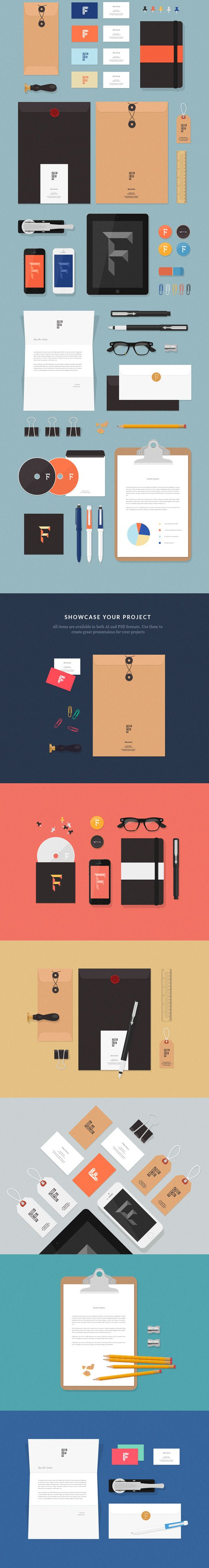 Free Download : Flat MockUps – Stationery Items