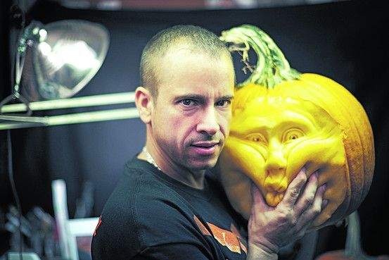 The Picasso of Pumpkin Carving by Ellen Gamerman, wsj: Ray Villafane, Master Pumpkin Carver, sculpts ust the outside, leaving the innnards intact. #Pumpkin_Carving #Ray_Villafane #wsj #Ellen_Gamerman