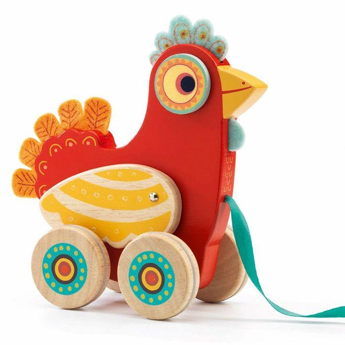 Arrastre gallina de madera Polka - Djeco