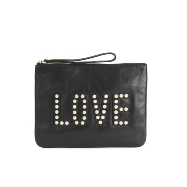 Rebecca Minkoff Pearl 'Love' Leather Clutch Bag -  Black