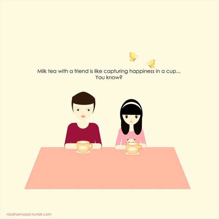 "Cute Doodles Illustration — ""Milk tea with a friend is like capturing..."