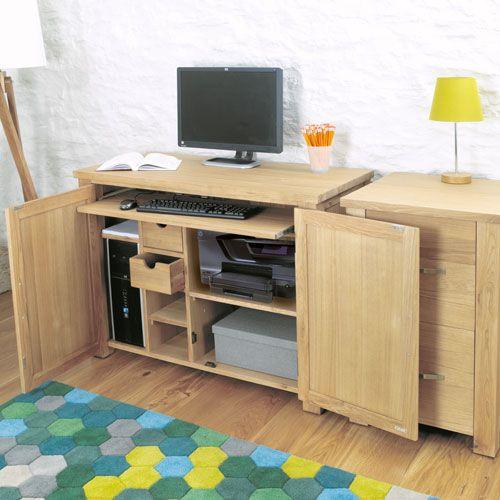 Hidden Home Desk Hideaway Oak Office Computer Workstation