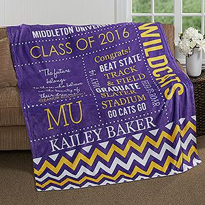 Great graduation gift idea for high school kids heading off to college! It's a personalized graduation blanket - they can personalize it with their school colors and all of their own info!