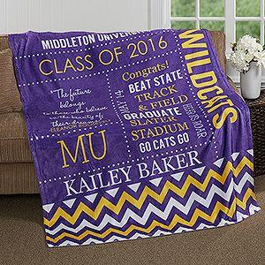 School Memories Personalized Graduation 50x60 Fleece Blanket