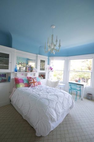Traditional Kids Bedroom with Chandelier, Painted ceiling, Kartell louis ghost chair, Carpet, Built-in bookshelf