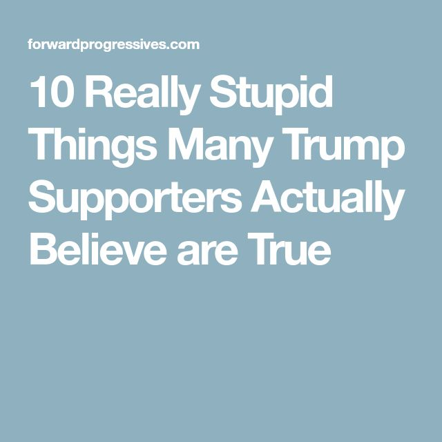 10 Really Stupid Things Many Trump Supporters Actually Believe are True