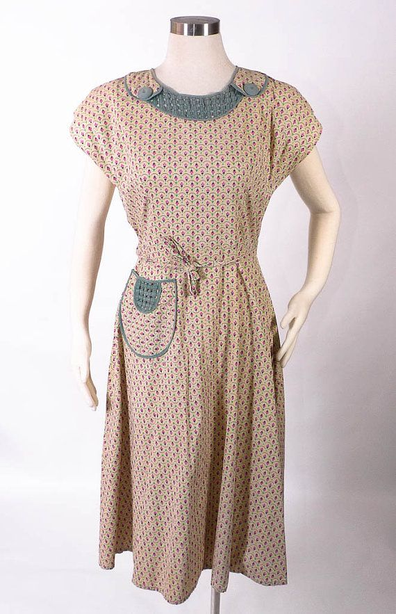 Vintage 1930's Dress - The WW2 Printed Cotton Feedsack Wrap Frock - sz M/L. $78.00, via Etsy.