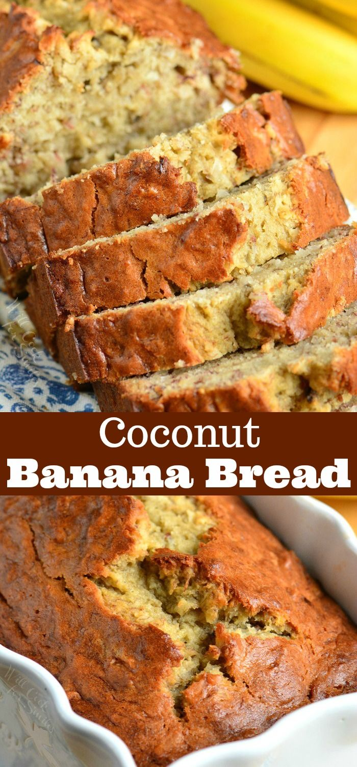 Coconut Banana Bread Soft Moist And Super Easy Banana Bread Made With Tropical Flavor Addition Of Coconut Banana Bread Easy Banana Bread Moist Banana Bread