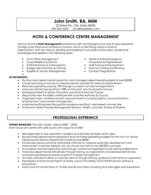 A resume template for a Hotel and Conference Centre Manager. You can download it and make it your own.