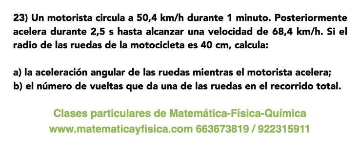 Ejercicio de física: movimiento circular uniformemente acelerado