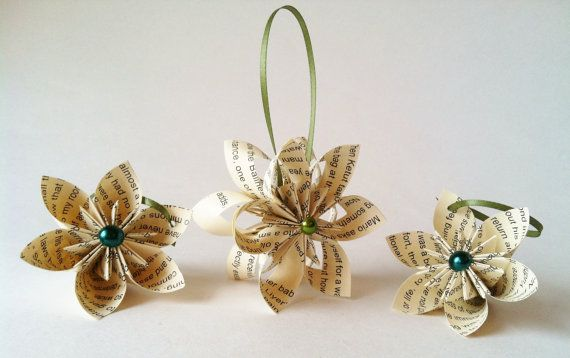 Christmas Ornaments set of 3- falling star, paper flowers, one of a kind origami, holiday decoration, gift