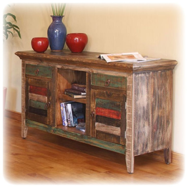 Distressed MULTI COLORED TABLE | Antique Multi Color TV Stand   TV Stands U0026  Entertainment
