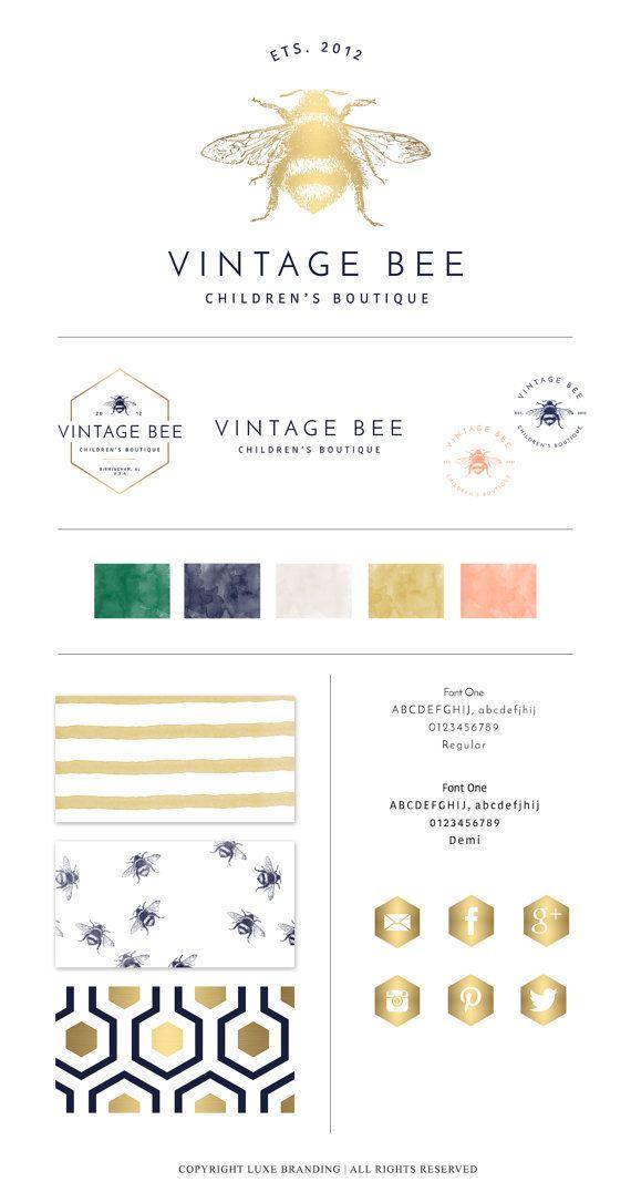 PRE-DESIGN Vintage Bee Branding Package Perfect by LuxeBranding.  Vintage inspired logo.  Bee logo.  Bumblebee logo.  Boutique logo.