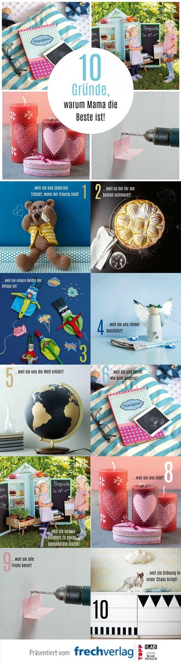 Dass Mama die Beste ist weiß wohl jeder. Und das sollte man ihr auch so oft wie möglich sagen - nicht nur am Muttertag! Mit dieser Infografik könnt ihr eurer Mama erklären, warum sie die Beste ist! Alle Anleitungen zu den Modellen findet ihr unter www.topp-kreativ.de