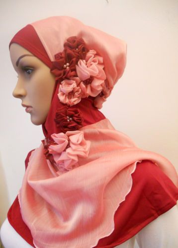 Hijab Scarf One Piece Slip on with flowers - kimar
