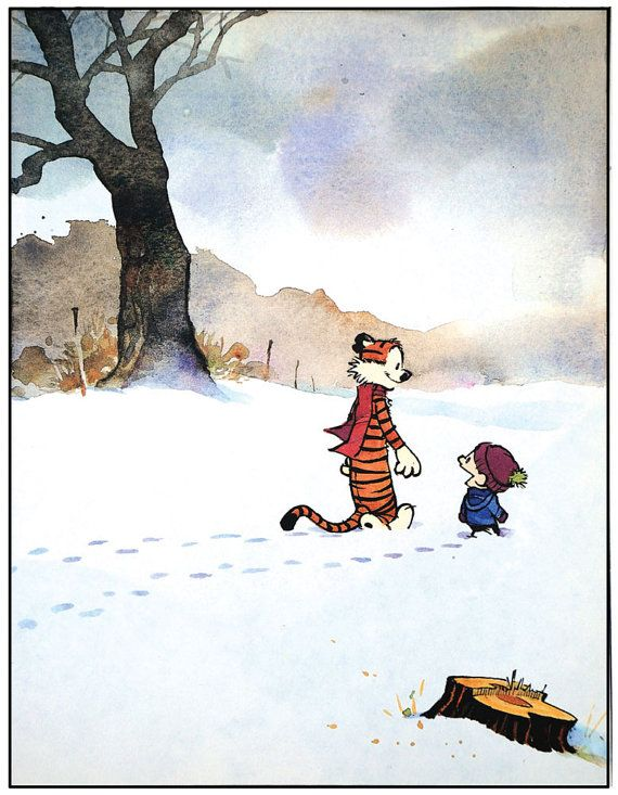 Calvin and Hobbes Snow Walking Print by BabyRoomPrints on Etsy, $25.00