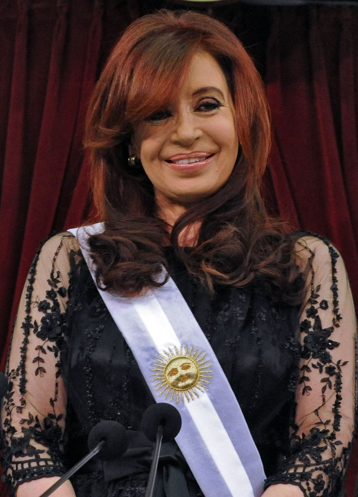 Cristina Fernández De Kirchner (Argentine President) She is Argentina's first elected female president, assuming office in 2007, and was reelected to a second term in 2011. Previously, she served as First Lady under former President Nestor Kirchner, as a National Deputy and three terms as a National Senator.