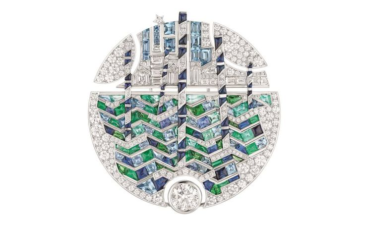 Chanel Spring in Venice brooch in 18-carat white gold set with a 2-carat round-cut diamond, calibrated emeralds, sapphires, tsavorites and aquamarines and brilliant-cut diamonds, £POA