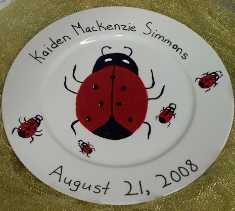 Google Image Result for http://aressa.files.wordpress.com/2008/08/ladybug-baby-plate-002.jpgCatie Baby, Ladybugs Baby, Births Plates, Angie Baby, Baby Shower Gifts, Ladybugs Ideas, Personalized Ladybugs, Birthday Ideas, Baby Stuff