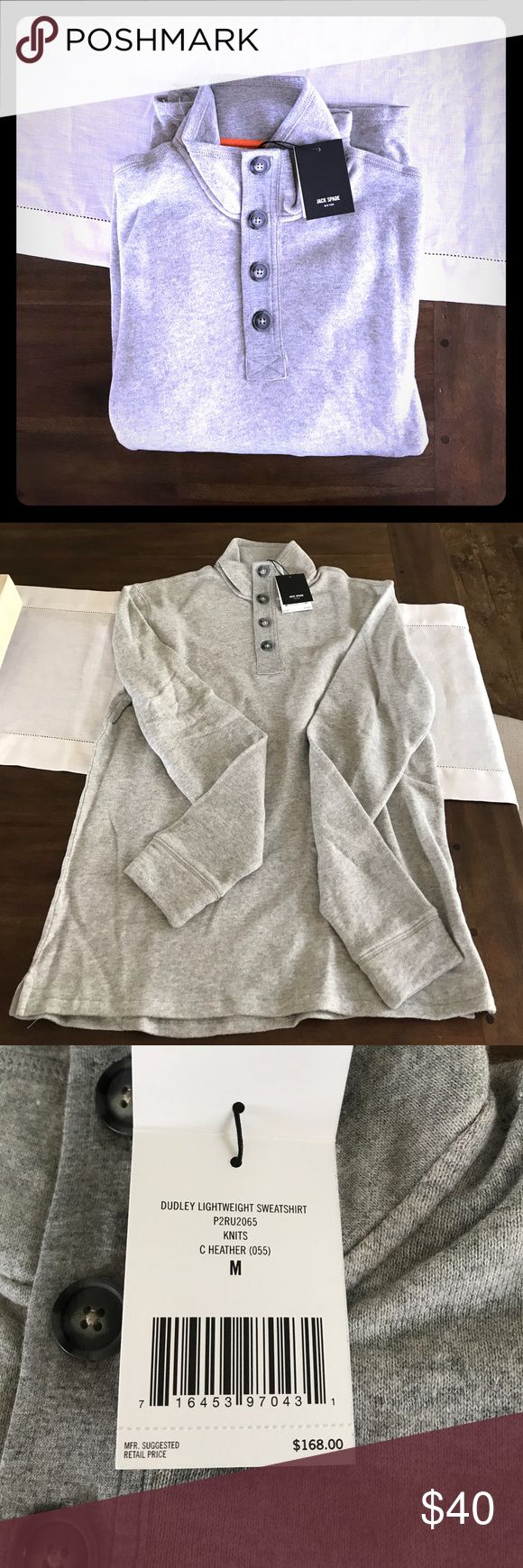 "JAKE SPADE Dudley Lightweight Sweatshirt M NWT (in factory bag) JACK SPADE NEW YORK Dudley Lightweight Medium Sweatshirt. Garment measurements: chest 50"", back length 28"". 100% cotton. Jack Spade Shirts Sweatshirts & Hoodies"