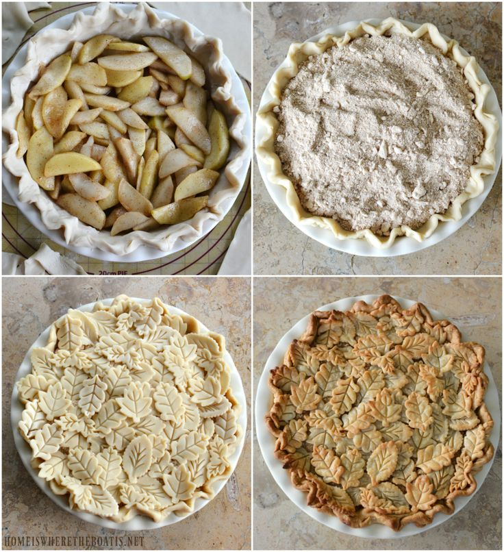 Double topped crumb Apple Pie with pie crust leaf embellishments | homeiswheretheboatis.net #recipe #fall #dessert