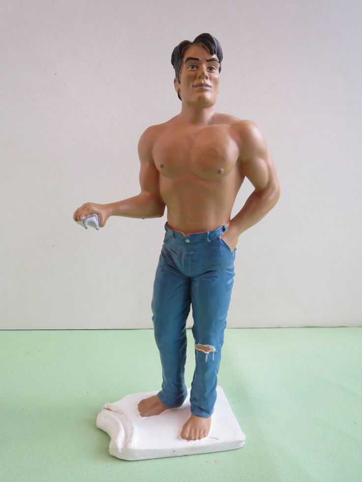 Mint R Demars Ganz Sexy Shirtless Hunk Man in Tight Jeans Beer Can Handle Holder