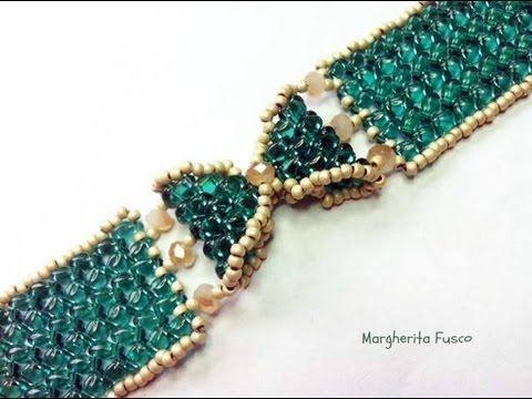 ▶ Tutorial come fare un bracciale a fiocco con perline superduo / twin braccialetto Papillon - YouTube