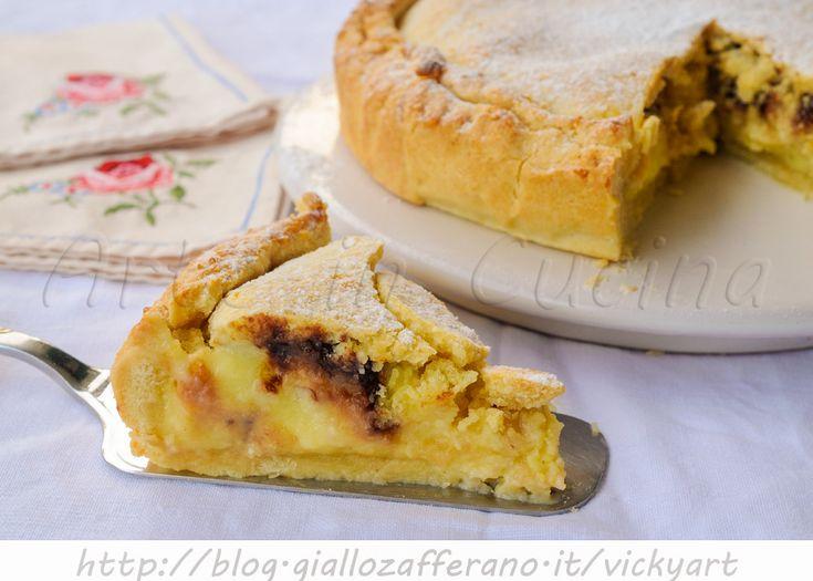 Torta pasticciotto crema mandorle e cioccolato, ricetta dolce salentina, dolce facile alla crema pasticcera al limone, ricetta tipica campana, ottima a merenda