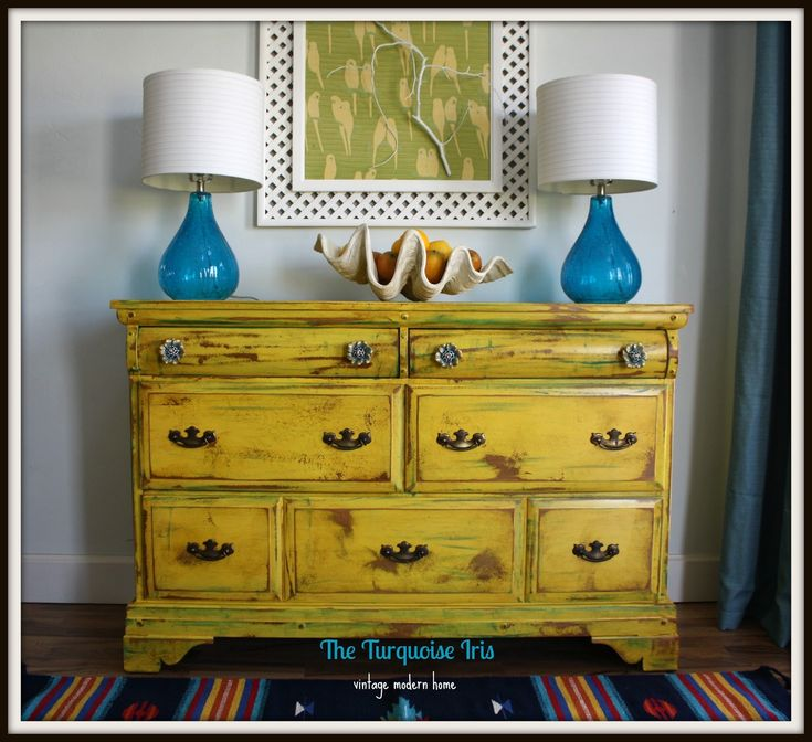 The Turquoise Iris ~ Vintage Modern Home: Vintage Yellow Dresser Distressed & Accented with Teal