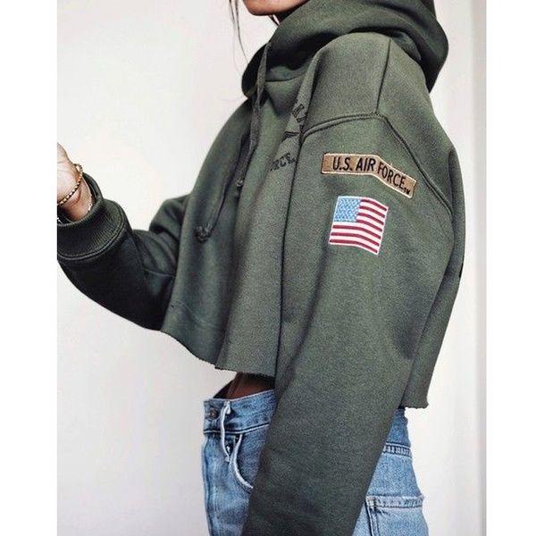 3 Farben Mode Frauen Herbst Tops Casual Baumwolle Sweatshirts Armygreen Mädchen Sexy Langarm Cropped Hoodie Airforce Print Drwastring Mit Kapuze Lässig