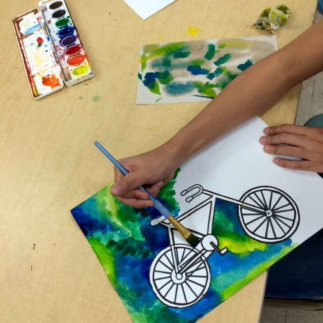 7th & 8th Grade Bicycle Paintings- STEAM art project www.ArtTeacherinLA.com