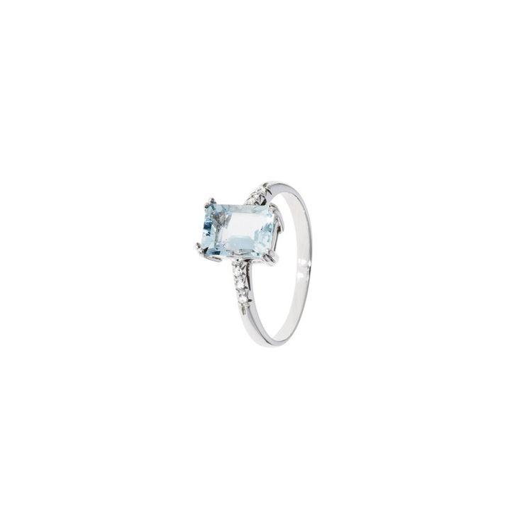 Anello in oro bianco, acquamarina e diamanti - STROILI ORO