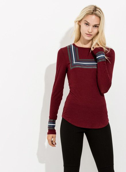 Women's Printed Cashmere Crew neck long sleeve   Evans long sleeve   Kit and Ace