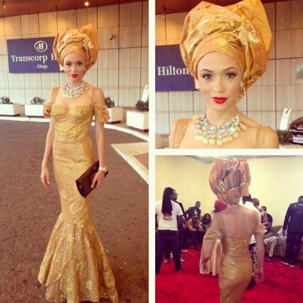 BellaNaija Weddings: Eku Edewor, Nigerian TV personality & actress in gold gele and silver crystals. #asoebi #asoebibella #nigerianwedding