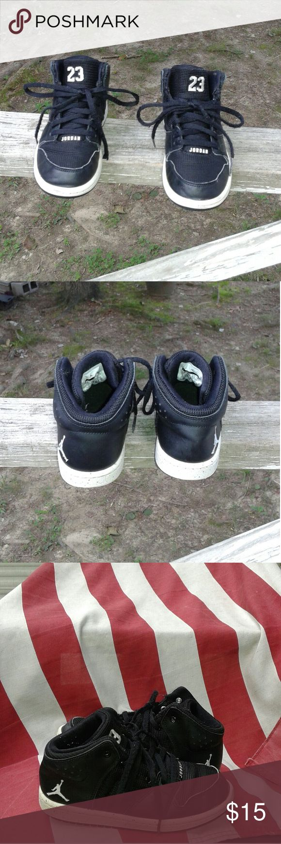 Nike Air Jordan #23 Boys Shoes Size 12c This is a used pair of Nike Air Jordan #23 toddler boy's Shoe's size 12c, they are black and white high top shoe's. #828243-020. There is some wear on both shoes on the bottom at the heels. They are no holes or tears on either shoe. Please view the pictures and if you have any questions please ask. Nike Air Jordan #23  Shoes Sneakers