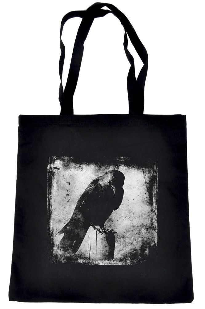 """- Made in USA - Evil Eye Raven on Black Tote Book Bag - 15"""" X 16"""" inches with 11"""" Double Strap Drop - High Quality 100% Cotton / Durable and Tough - Great for carrying all the things you need. Lots of"""