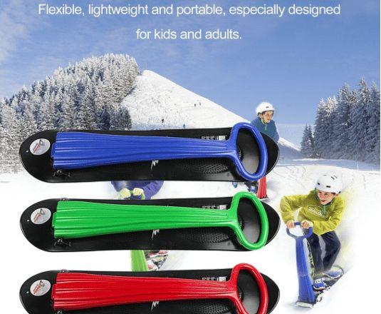 Schlitten, Skibob, Schneegleiter Outdoor Sport Tragbare Faltbar Kunststoff Freestyle Single Board Schnee Gras Sand Board mit Armlehnen für Kinder & Erwachsene