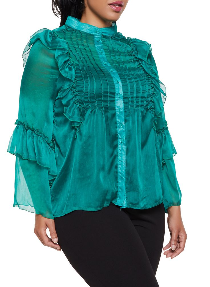 Plus Size Ruffled Bell Sleeve Blouse – Green – Size 3X