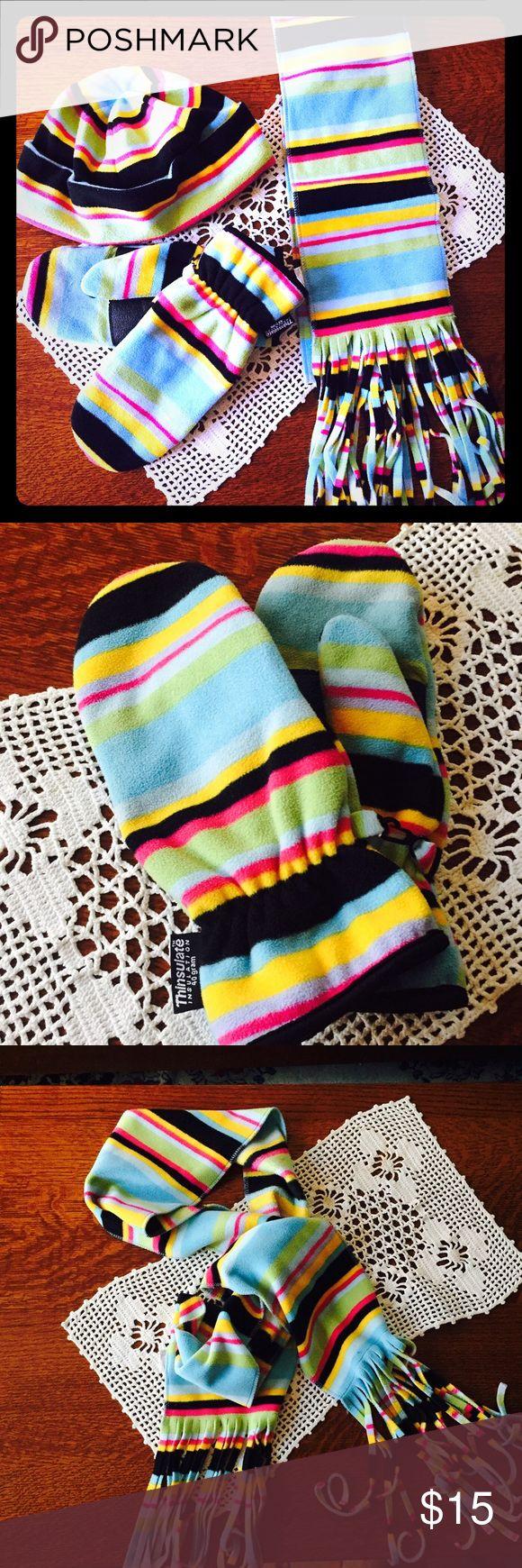 Leather work gloves screwfix - Women S Fleece Hat Scarf Mitten Set Cute Fleece Set Ideal For Those Cold Days