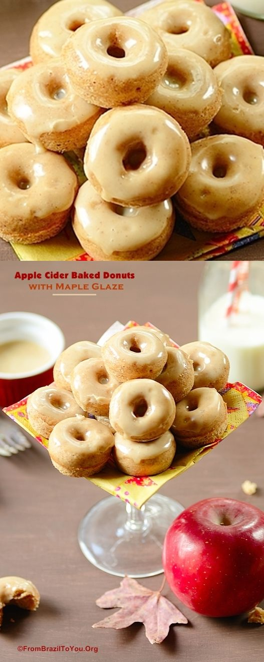 Baked, small, and super tasty... A favorite of both adults and children... #donuts #applecider #maple #glaze #breakfast #snack