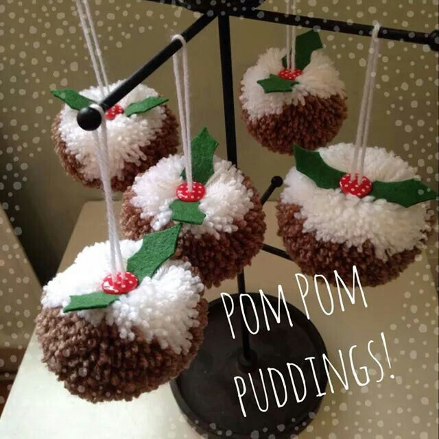 Christmas pudding pom poms