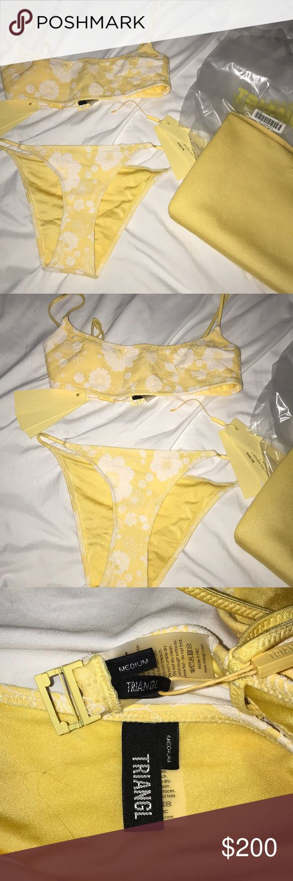 Triangl Gemma (NOT SURE ON SELLING) NWT. I adore it! But not the biggest fan of the bottoms. The color and pattern are to die for! I have an olive tan skin tone and it looks amazing! Still not sure on selling but interested in trades! Both mediums! triangl swimwear Swim Bikinis