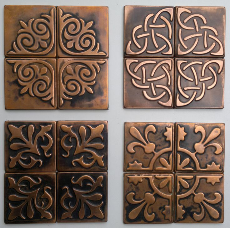 Copper Wall Art Home Decor : Copper kitchen backsplash set of tiles rustic