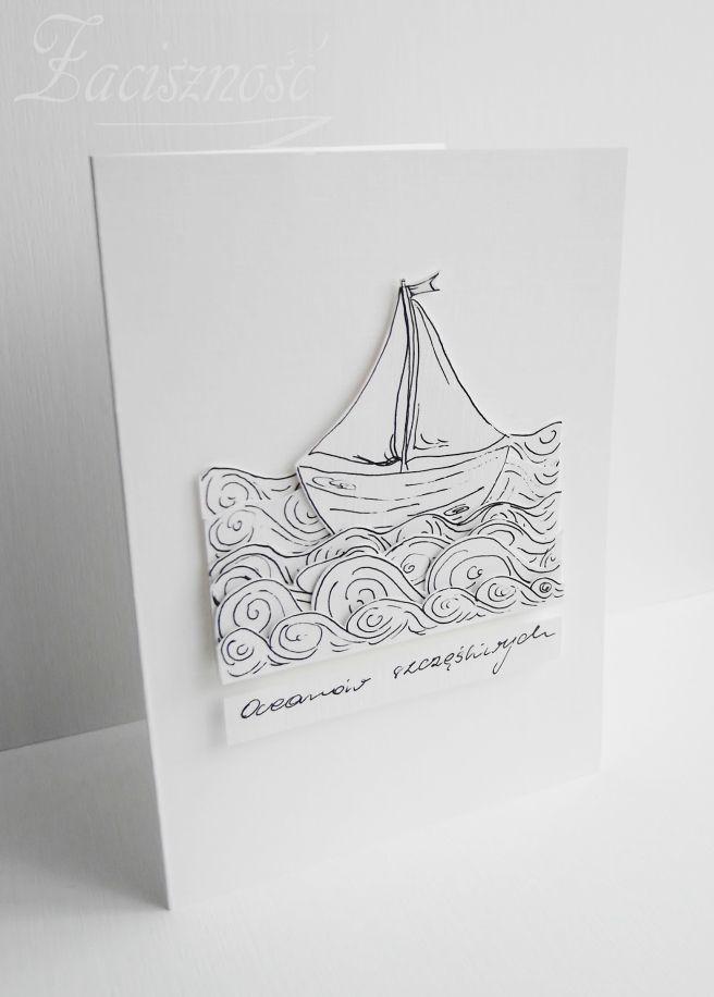 Ręcznie malowana kartka z łódką/ Handmade card with boat